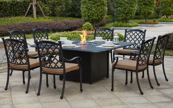patio furniture dining set cast aluminum 64 square propane fire pit table 9pc madsion. Black Bedroom Furniture Sets. Home Design Ideas