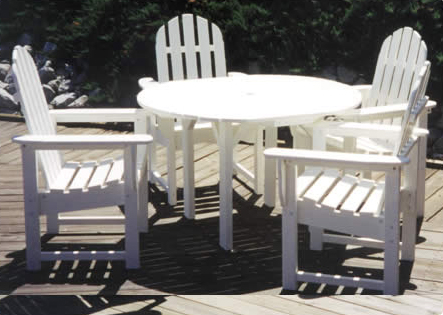patio furniture dining set polyresin adirondack 5pc