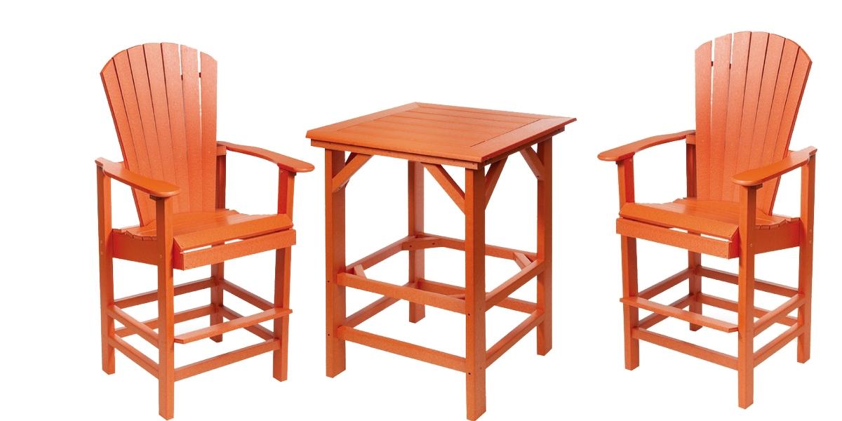 Patio Furniture Bar Set Polyresin Beachfront Adirondack 3pc
