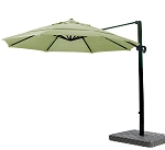Cantilever Umbrella Aluminum 11-Foot Sunbrella Canvas Forest Green 5446