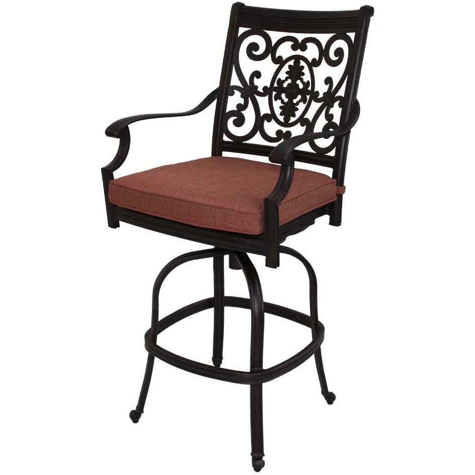 Patio furniture bar stool swivel cast aluminum st cruz for Outdoor patio stools