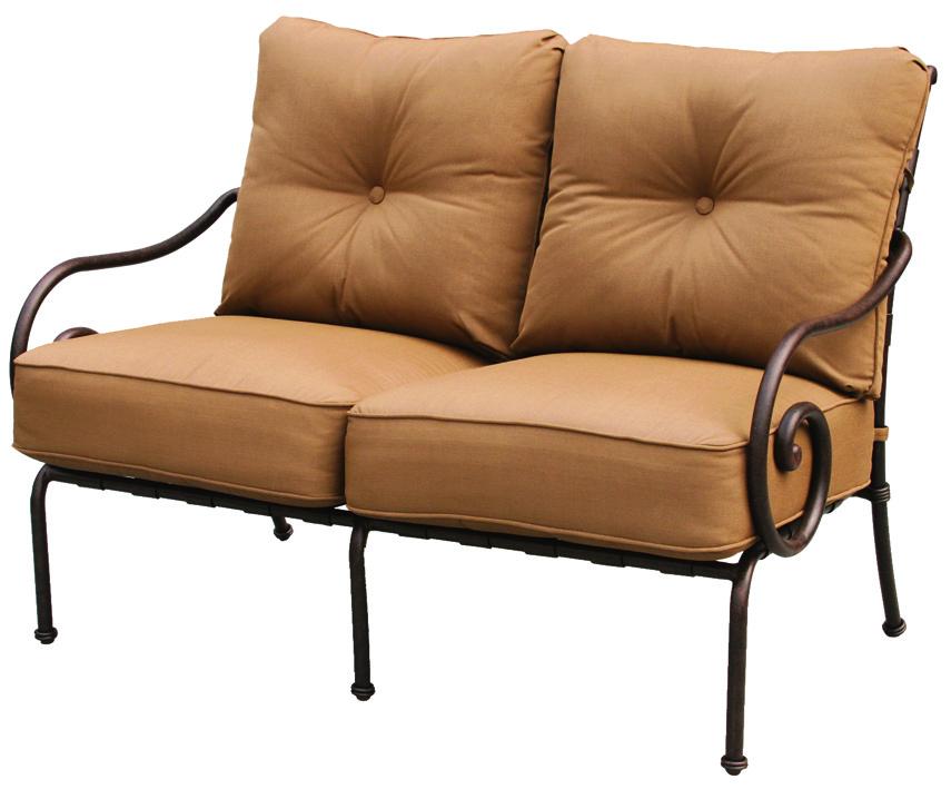 Patio furniture deep seating set cast aluminum loveseat for Deep seating patio furniture