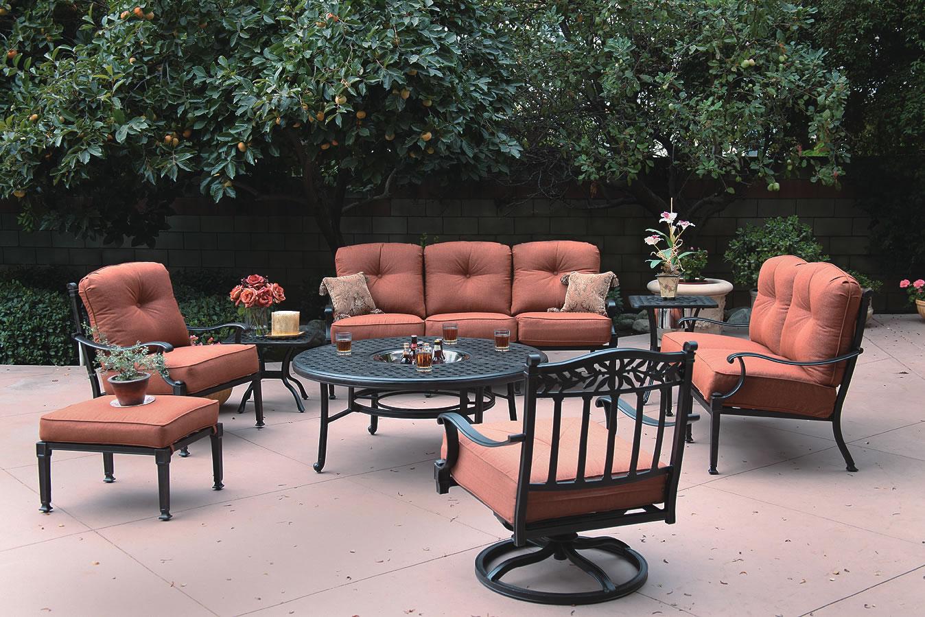Patio furniture deep seating set cast aluminum 8pc charleston for Deep seating patio furniture