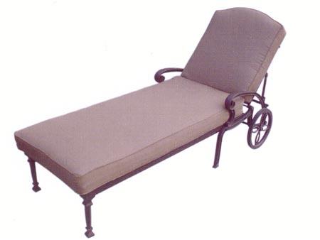 Patio furniture chaise lounge cast aluminum ten star for Cast aluminum chaise lounge