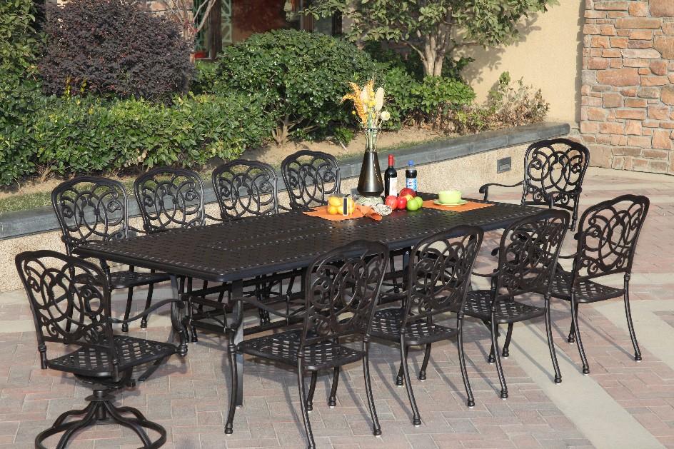 Patio Furniture Dining Set Cast Aluminum 102 Rectangular Table 11pc Flo