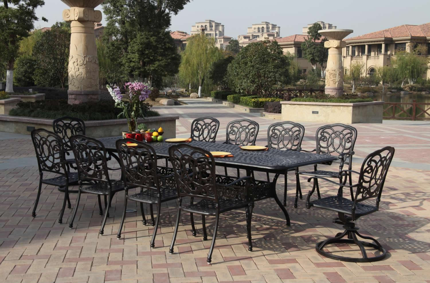 Patio Furniture Dining Set Cast Aluminum 92u201d 120u201d Extension Table 11pc  Florence