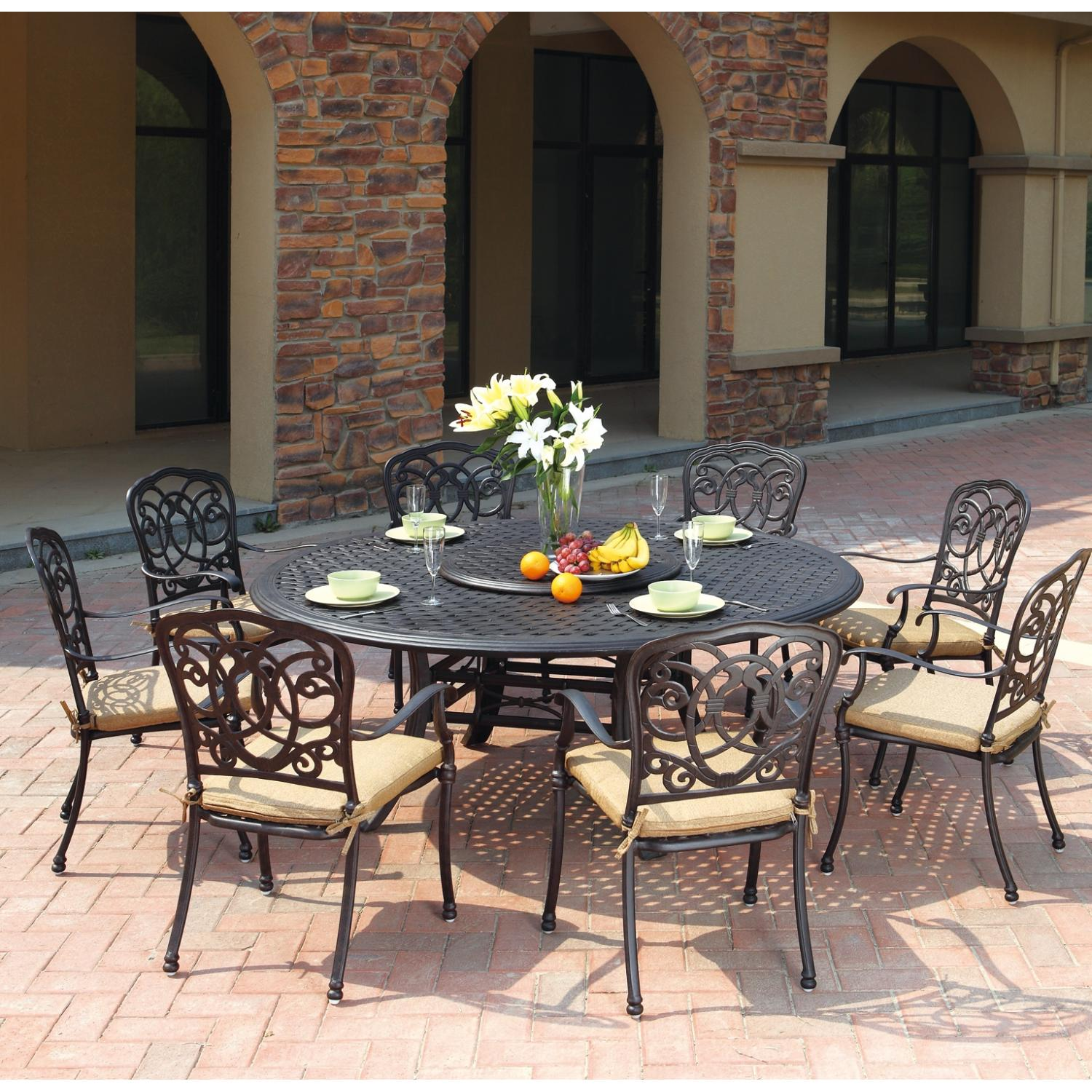 & Patio Furniture Dining Set Cast Aluminum 71u201d Round Table 10pc Florence