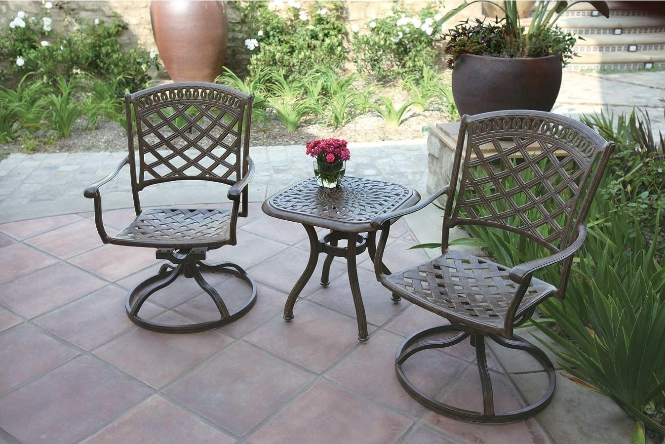 patio furniture rocker swivel cast aluminum chair 3pc sedona