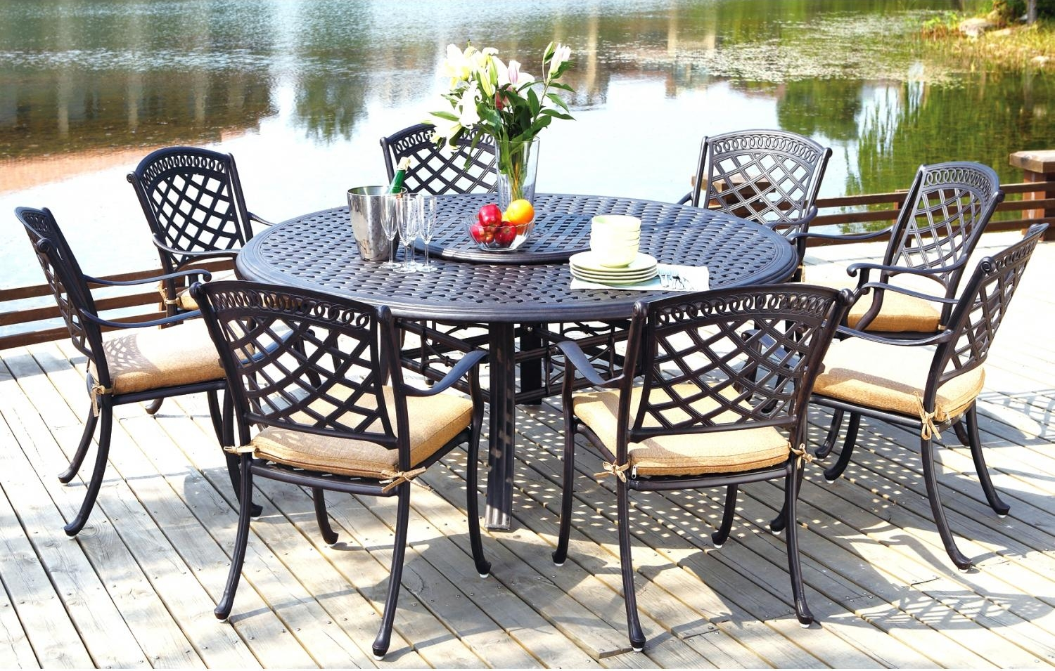 sets patio furniture dining set cast aluminum 71 round table 9pc