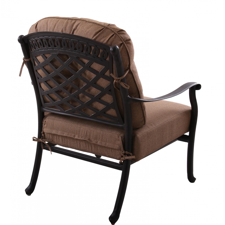 Patio furniture deep seating set cast aluminum 6pc sedona for Deep seating patio furniture