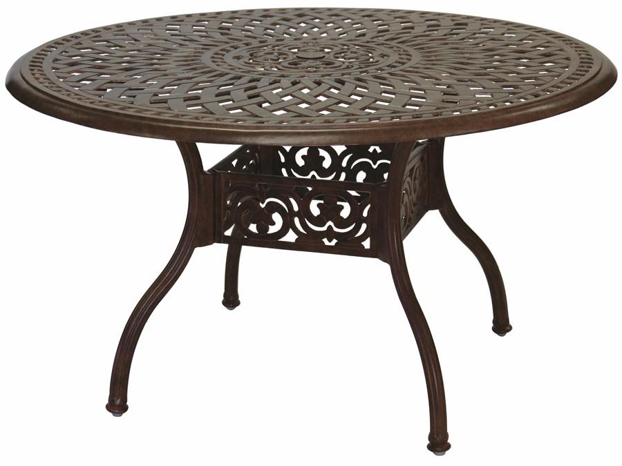 Patio Furniture Dining Set Cast Aluminum 48 Round Table 5pc Santa Anita