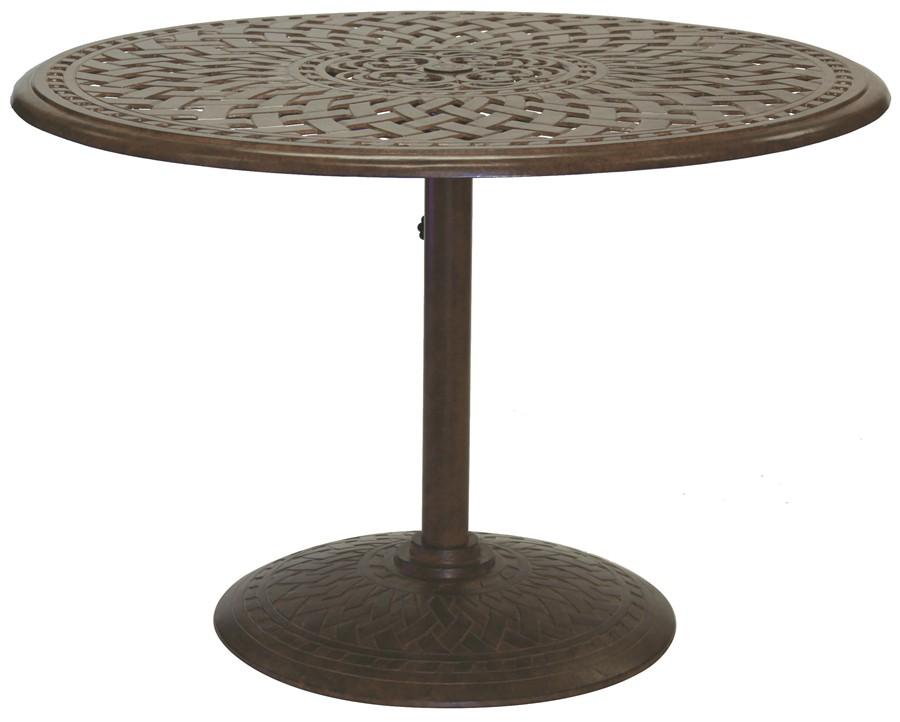 Patio Furniture Dining Set Cast Aluminum 42 Round Pedestal Table 5pc Sa