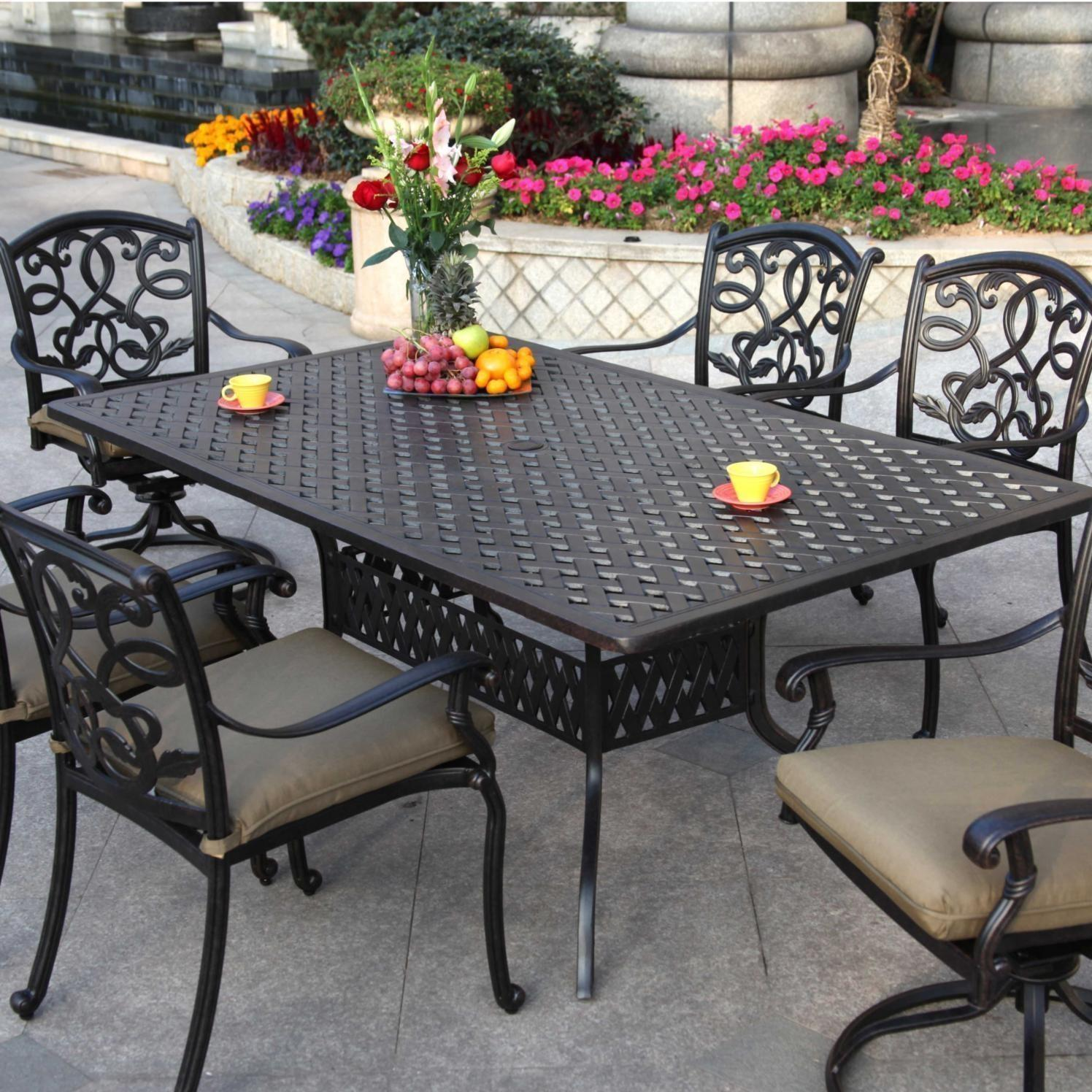 Patio Furniture Dining Set Cast Aluminum 72 Rectangular