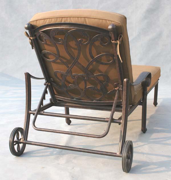 Patio furniture chaise lounge cast aluminum santa monica for Cast aluminum outdoor chaise lounge