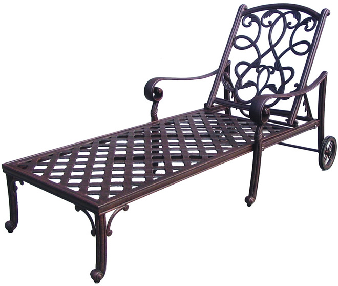 Patio furniture chaise lounge cast aluminum 3pc santa monica for Cast aluminum chaise