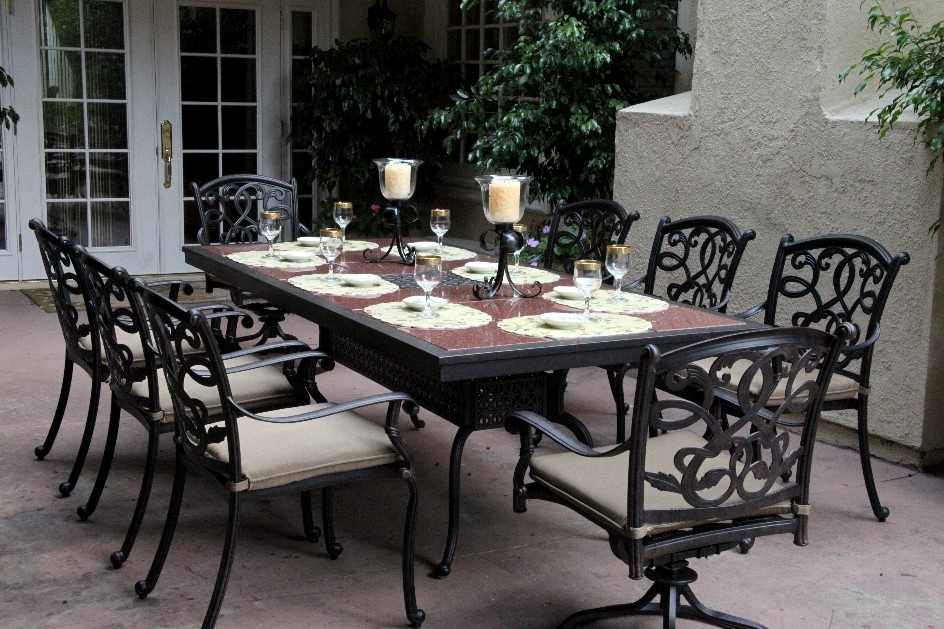 Patio Furniture Dining Set Cast Aluminum 91 Rectangular Granite Top Tab