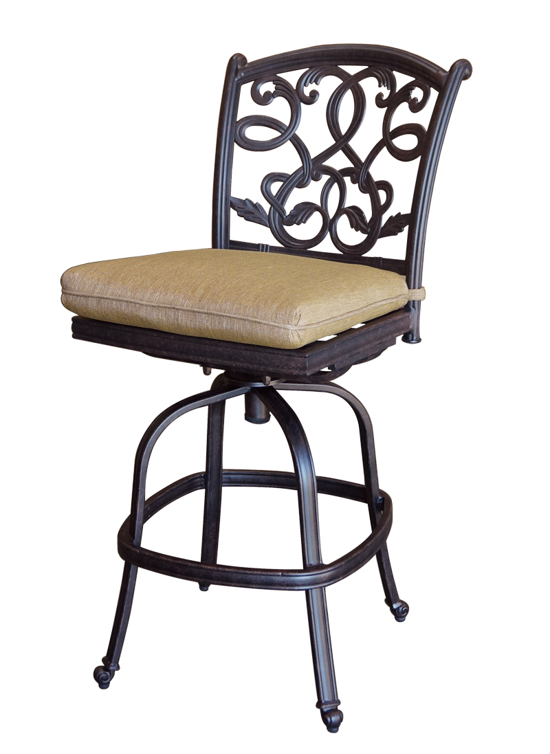 Outdoor Bar Stools ~ Patio furniture bar stool swivel cast aluminum armless