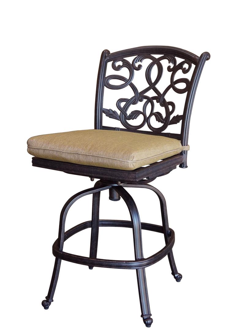 Patio furniture cast aluminum counter stool swivel armless for Caste furniture