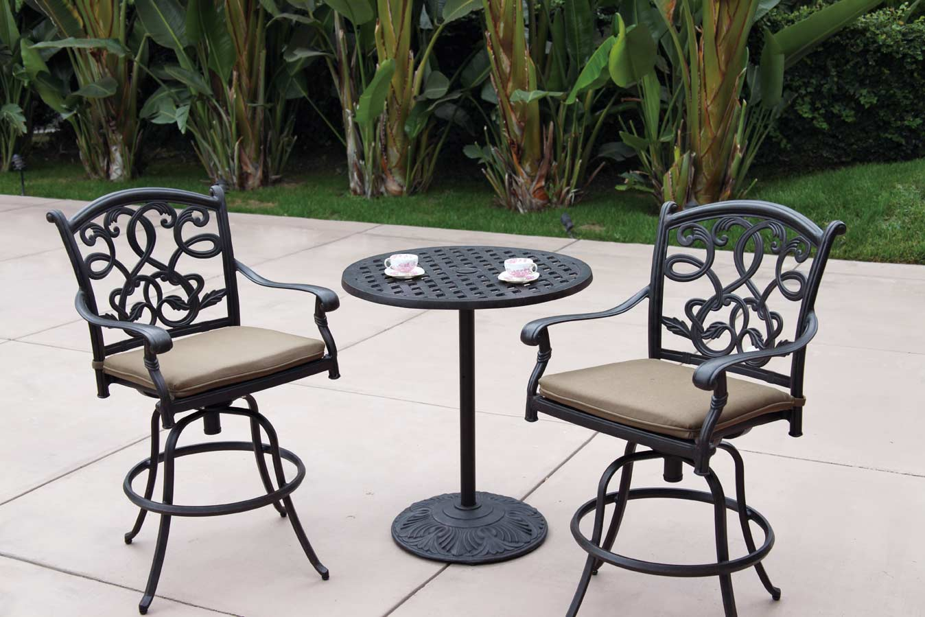 patio furniture bistro set cast aluminum 30 round pedestal pub table 3pc santa monica. Black Bedroom Furniture Sets. Home Design Ideas