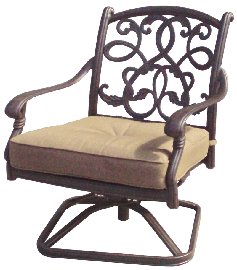 Patio Furniture Cast Aluminum Deep Seating Rocker Swivel Club Chair Santa Monica