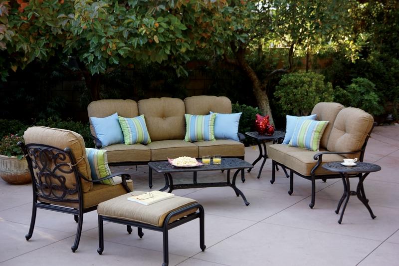 Patio furniture deep seating set cast aluminum 7pc santa for Deep seating patio furniture