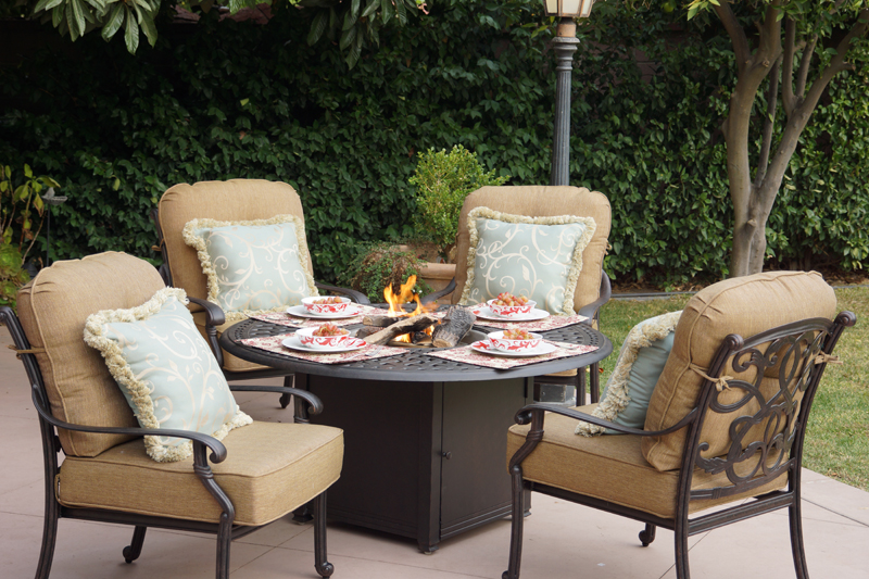 Patio Furniture Chat Group Cast Aluminum Propane Fire Pit Table 5pc Santa Monica