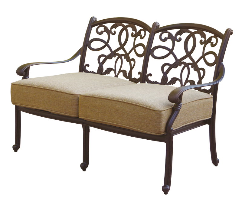 Patio furniture deep seating loveseat cast aluminum santa for Deep seating outdoor furniture