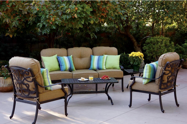 Patio furniture deep seating set cast aluminum 5pc santa for Deep seating patio furniture