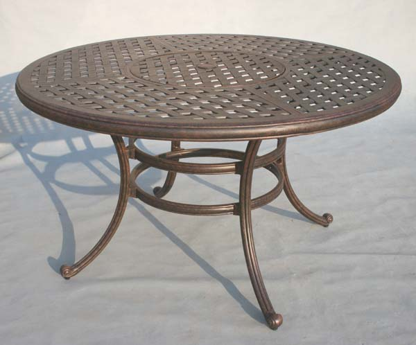 Patio furniture table dining cast aluminum 52 round w ice for Round dining table 52 inch