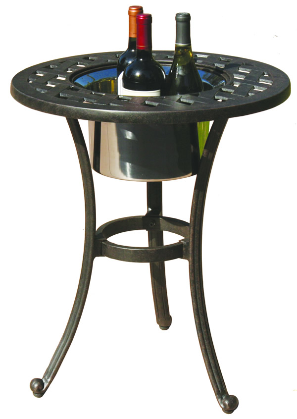 Patio furniture table end cast aluminum round w ice bucket for Outdoor furniture end tables