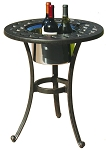Patio Furniture Table End Cast Aluminum Round W/Ice Bucket Series 30