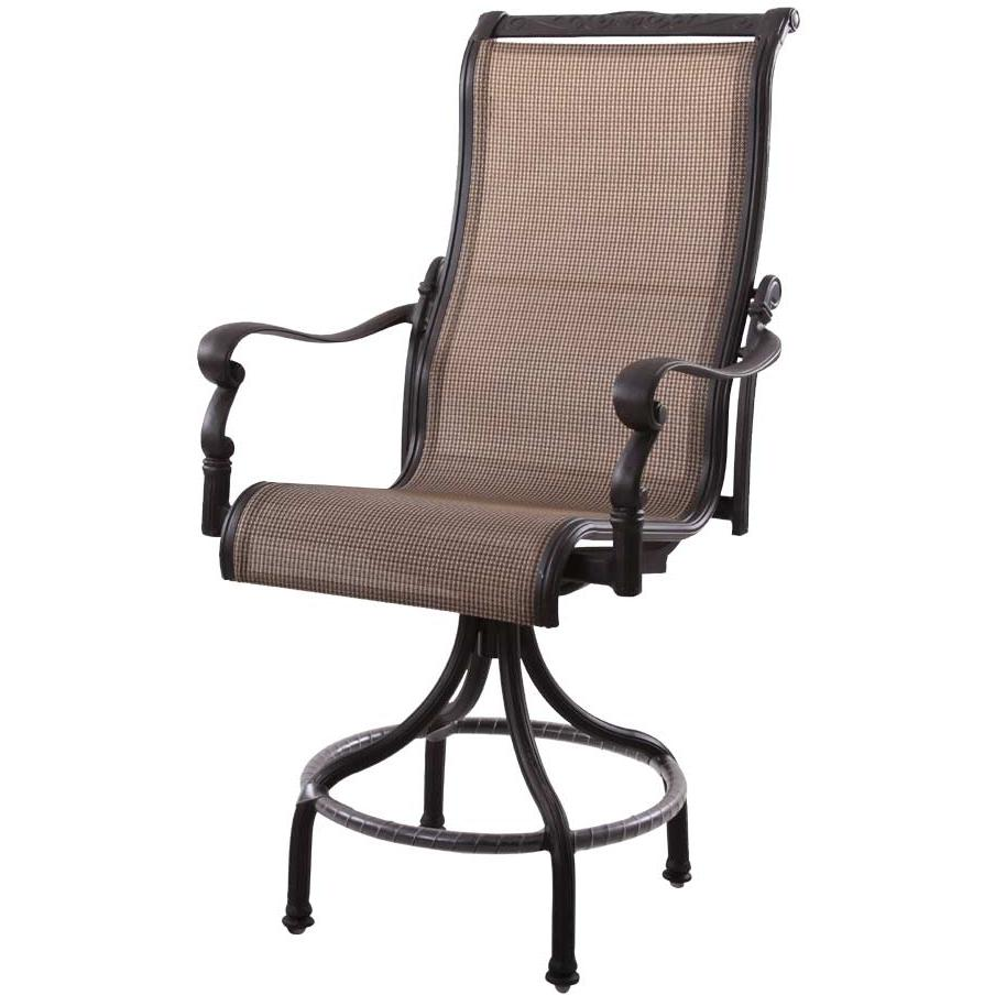 Patio Furniture Aluminum Sling Pub Chair High Back Swivel Counter Height Monterey