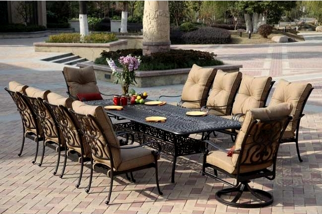 Patio Furniture Dining Set Cast Aluminum 92 120 Extension Table 11pc Santa Anita