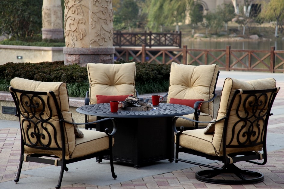 Patio Furniture Deep Seating Chat Group Cast Aluminum Propane Fire Pit Table 5pc Santa Anita