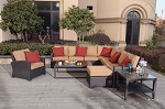 Patio Furniture All Weather Wicker Deep Seating Set Sectional 8pc Vienna