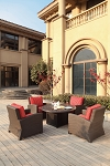 Patio Furniture All Weather Wicker Deep Seating Chat Group Propane Fire Pit Table 5pc Vienna