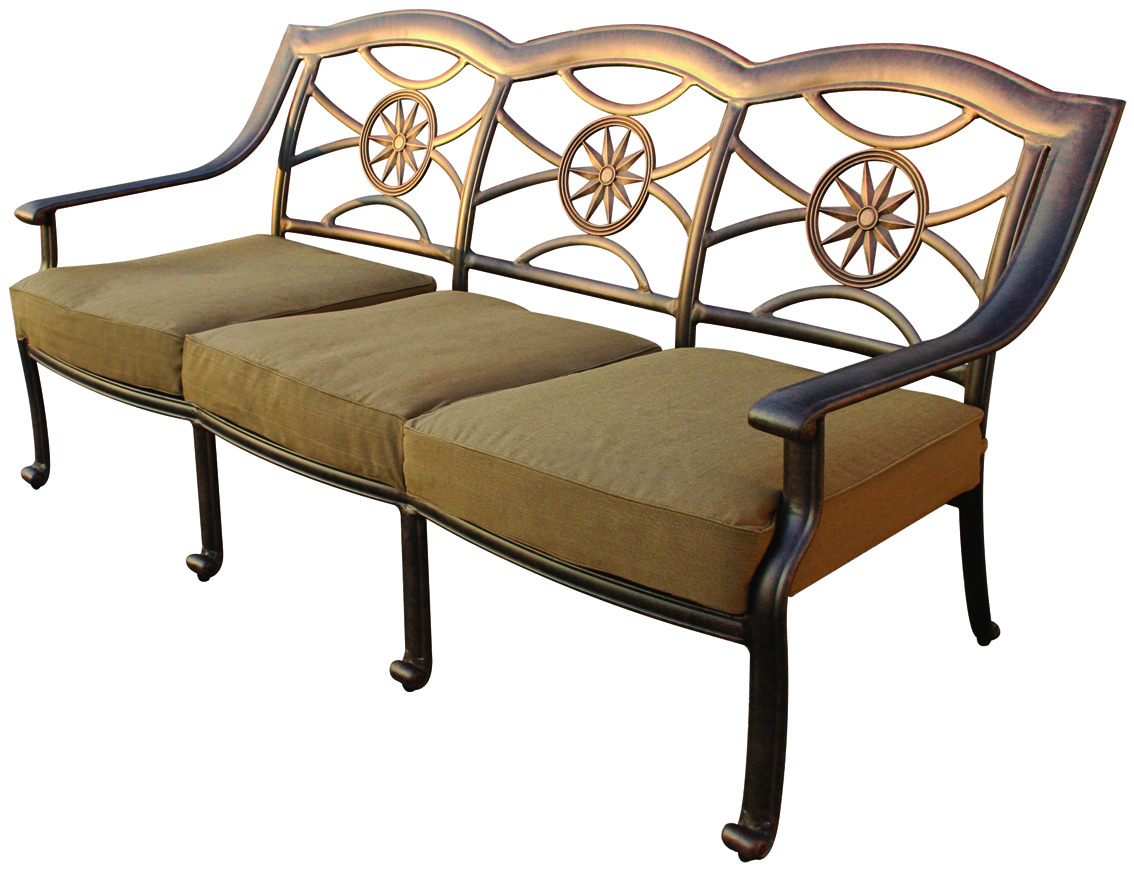 Patio furniture deep seating set cast aluminum 7pc ten star for Deep seating patio furniture