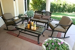 Patio Furniture Chat Group Cast Aluminum Rocker & Glider 5pc Nassau