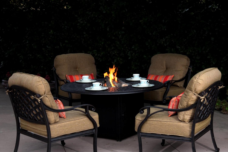 Patio Furniture Chat Group Cast Aluminum Propane Fire Pit