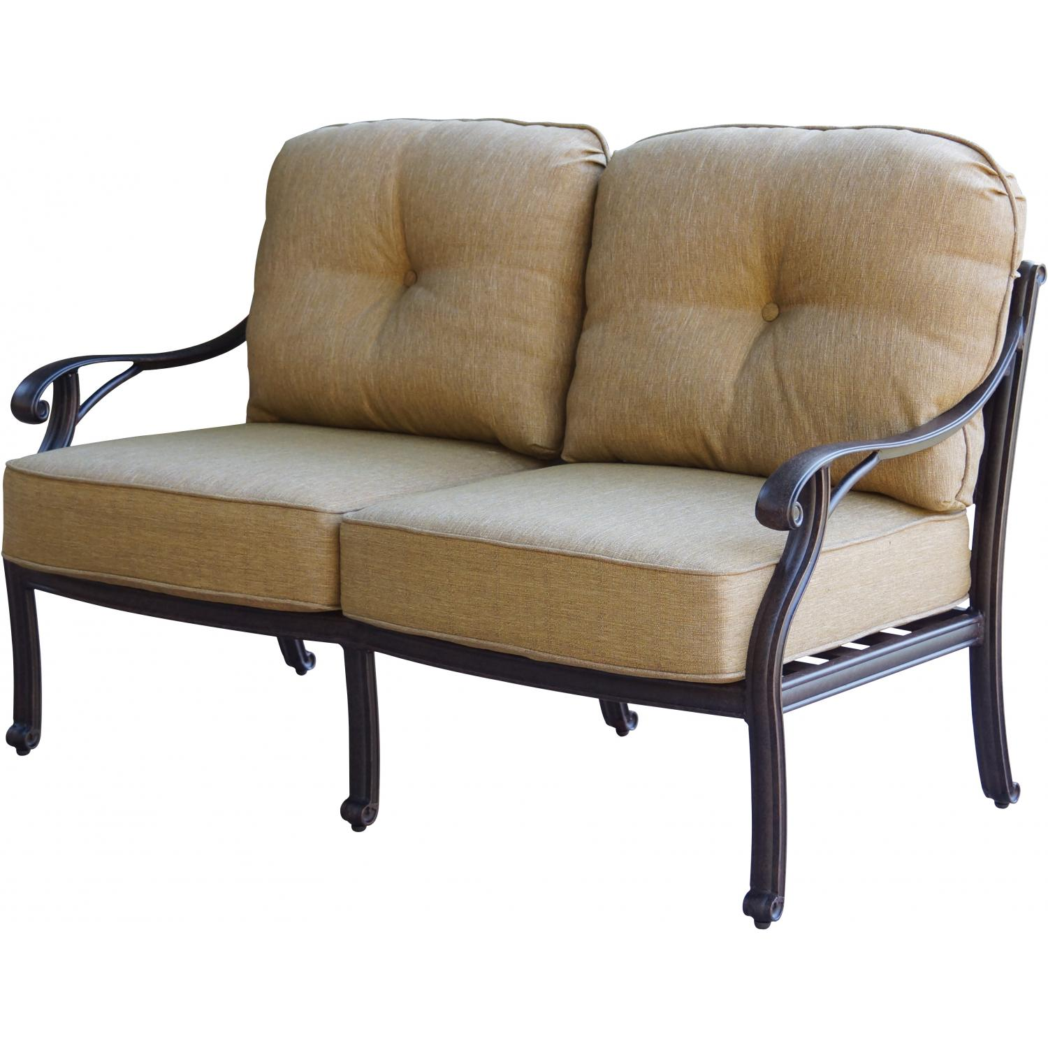 Patio furniture deep seating loveseat cast aluminum nassau for Deep seating outdoor furniture