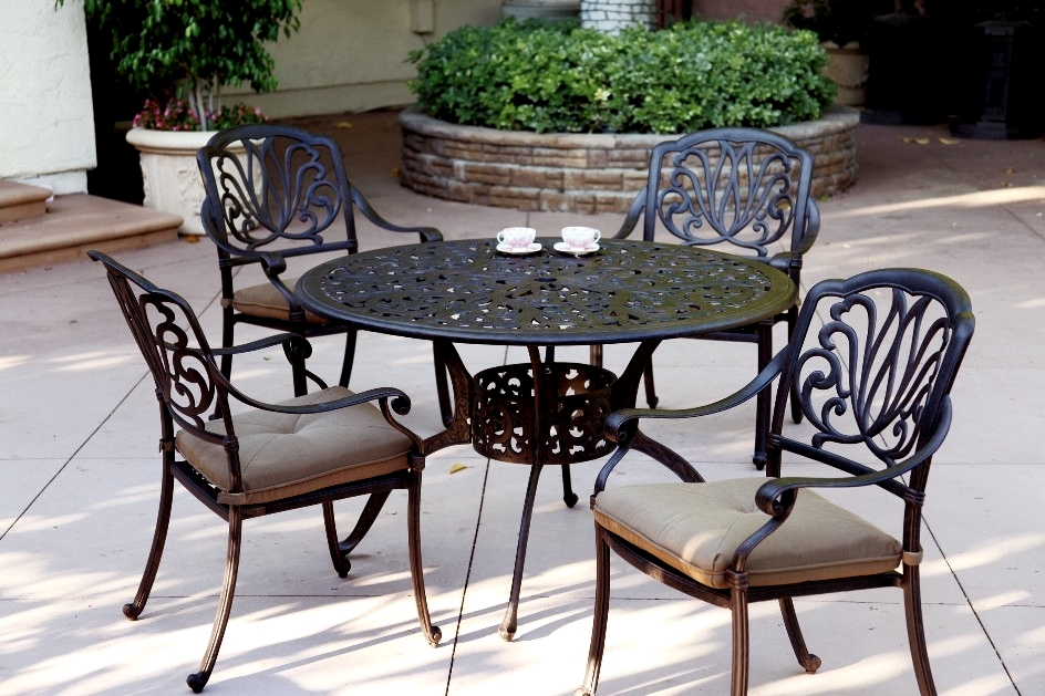 Patio furniture dining set cast aluminum 48 round table for Patio furniture table set