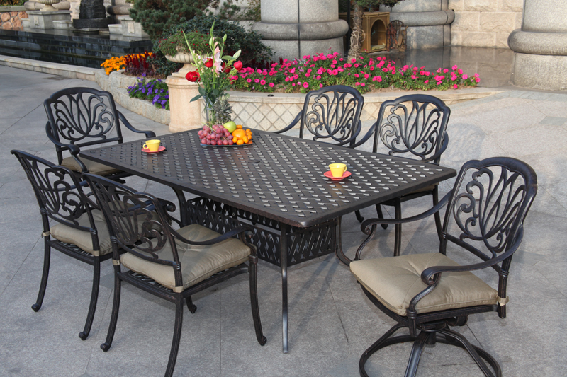 Patio Furniture Dining Set Cast Aluminum 72 Rectangular Table 7pc Lisse