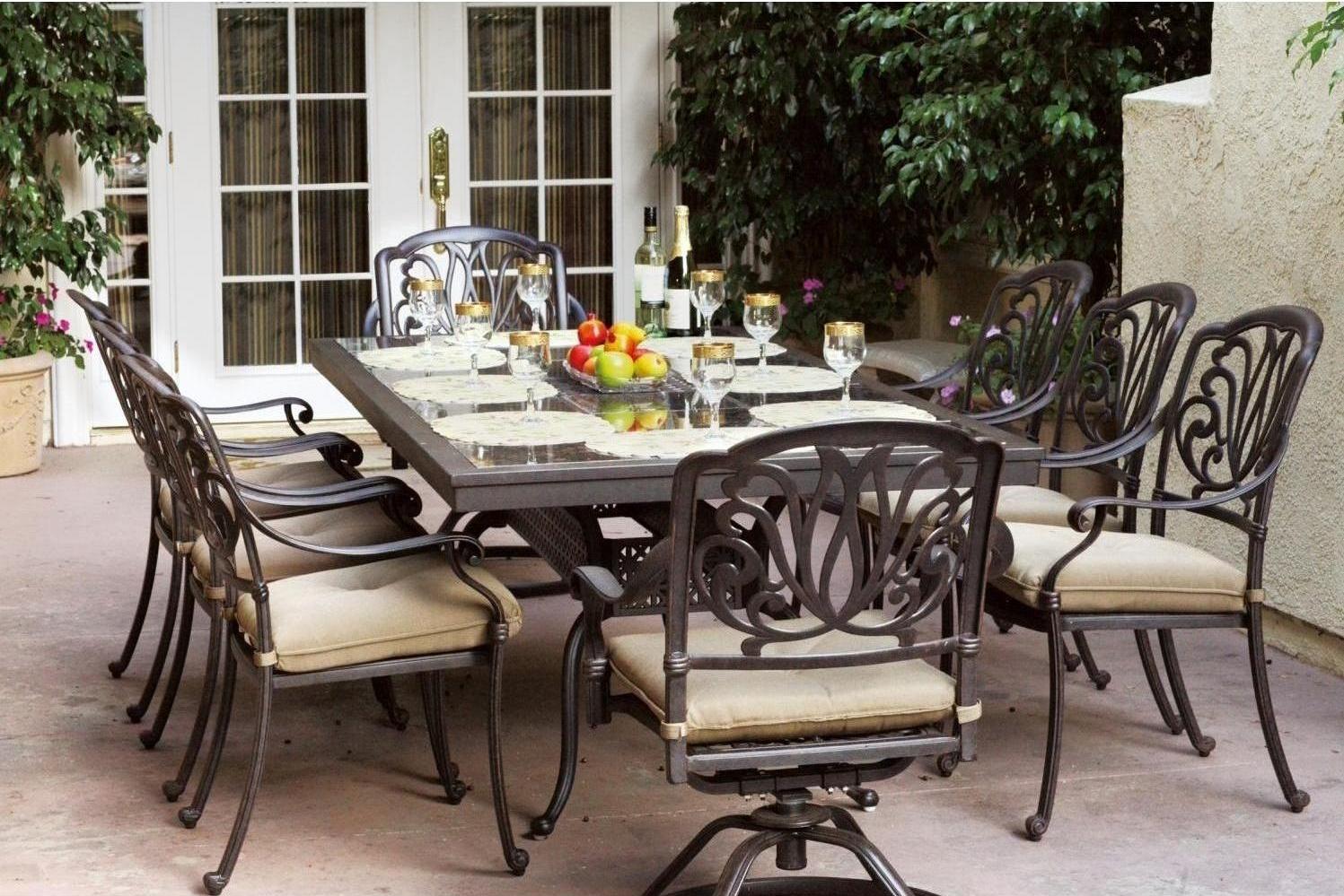 Patio Furniture Dining Set Cast Aluminum 91 Rectangular Granite Top Tab