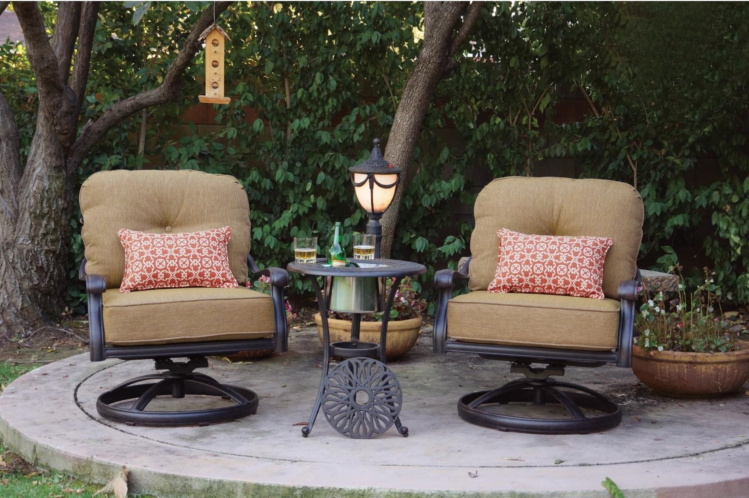 Patio Furniture Cast Aluminum Deep Seating Rocker Set Swivel Club Chair 3pc Lisse