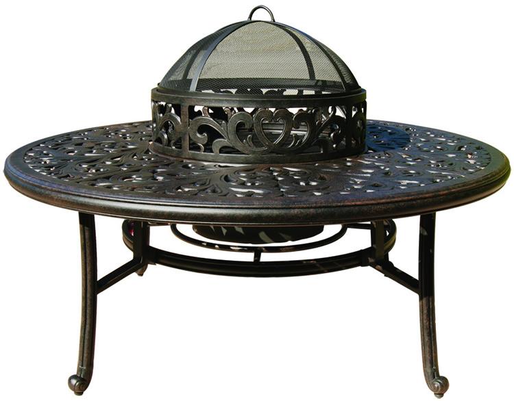 Patio Furniture Chat Group Cast Aluminum BBQ Fire Pit Tea Table 5pc Nassau