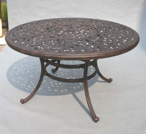 patio furniture dining set cast aluminum 52 round table 5pc catalina