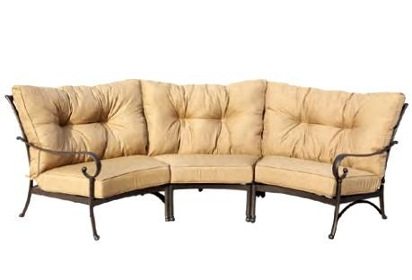 Cast Aluminum Sectional Crescent Deep Seating Sofa U0026 Rockers Set