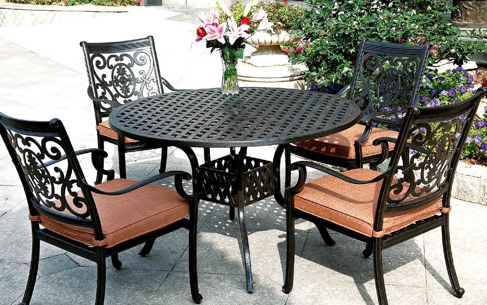 """Patio Furniture Dining Set Cast Aluminum 48"""" Round Table 5pc St Cruz"""