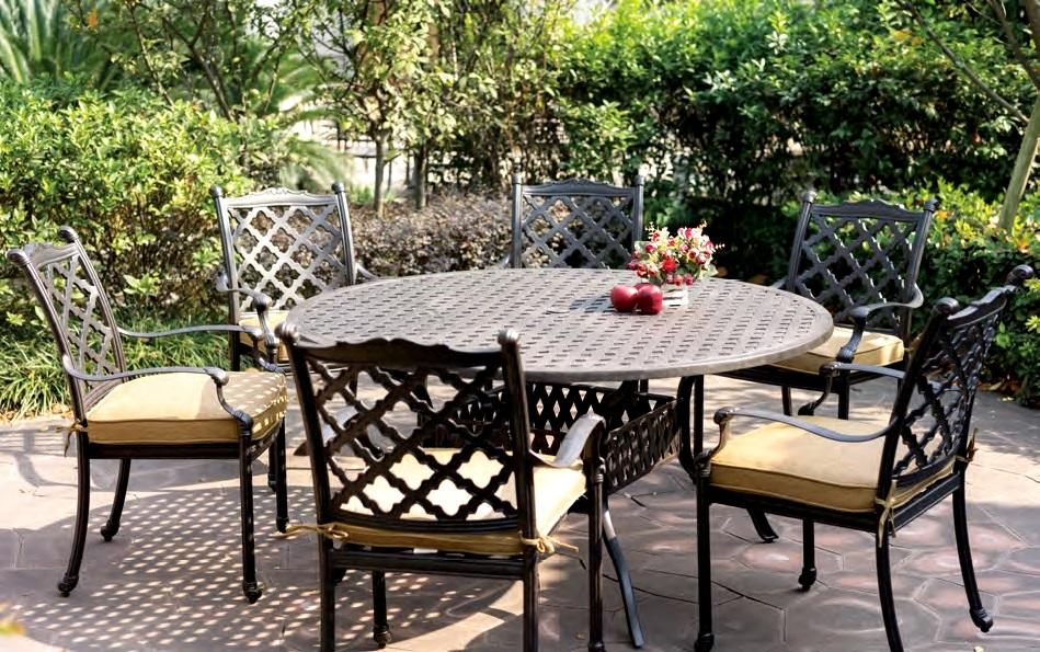 """Patio Furniture Dining Set Cast Aluminum 60"""" Round Table"""