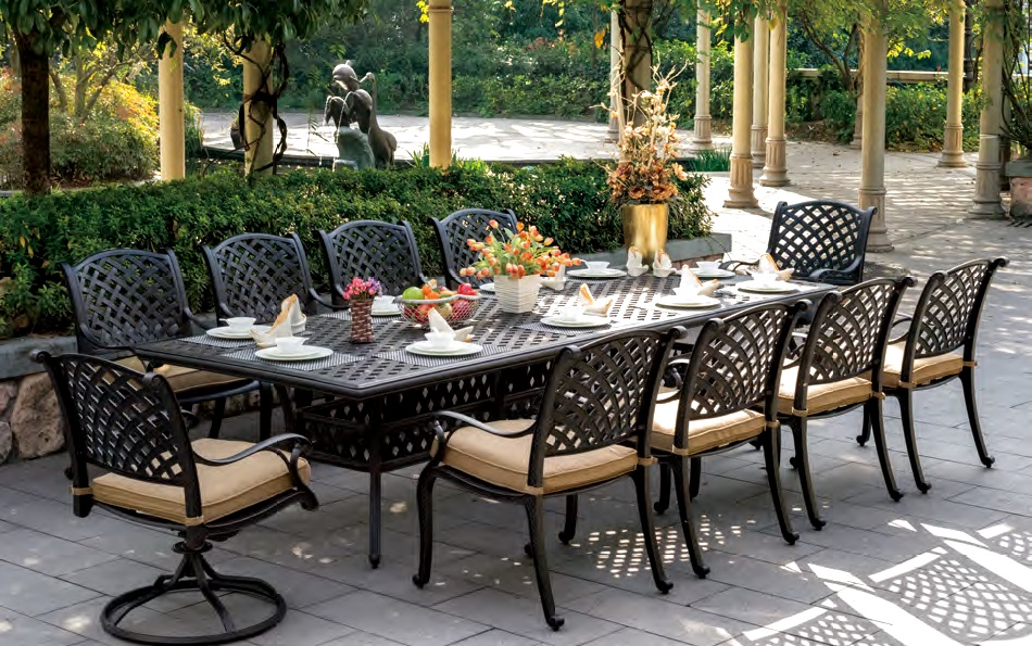 Patio Furniture Dining Set Cast Aluminum 120 Rectangular Table 11pc Nau